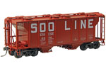 Soo Line PS-2 2003 Cubic Foot 2-Bay Covered Hopper #6870