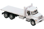 International 7600 3-Axle Flatbed Truck (White)