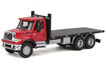 International 7600 3-Axle Flatbed Truck (Red/Black)