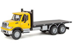 International 7600 3-Axle Flatbed Truck (Yellow/Black)