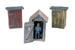 Scenic Details® 3 Outhouses & Man